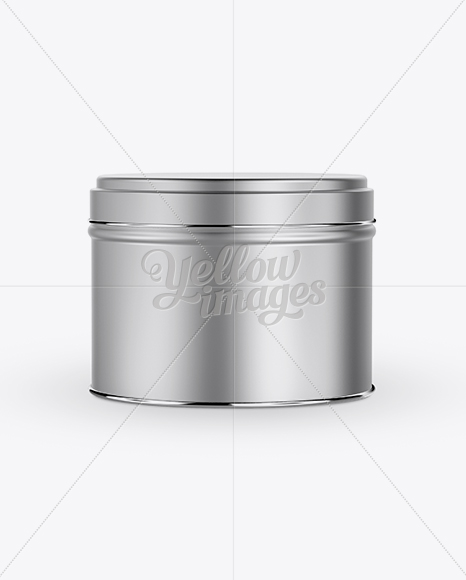 Free Download 100ml Round Tin Box With Glossy Finish Mockup Front View PSD - Free PSD Mockup Templates