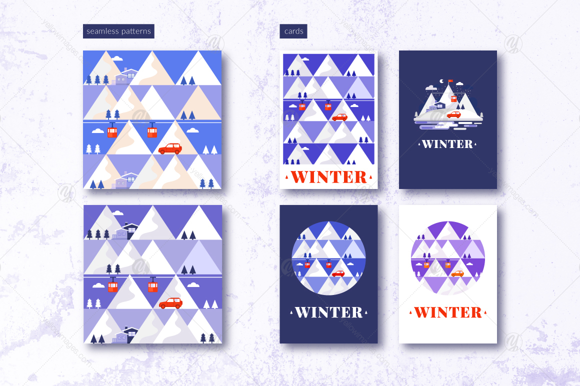 Winter Pattern, Illustrations, Cards