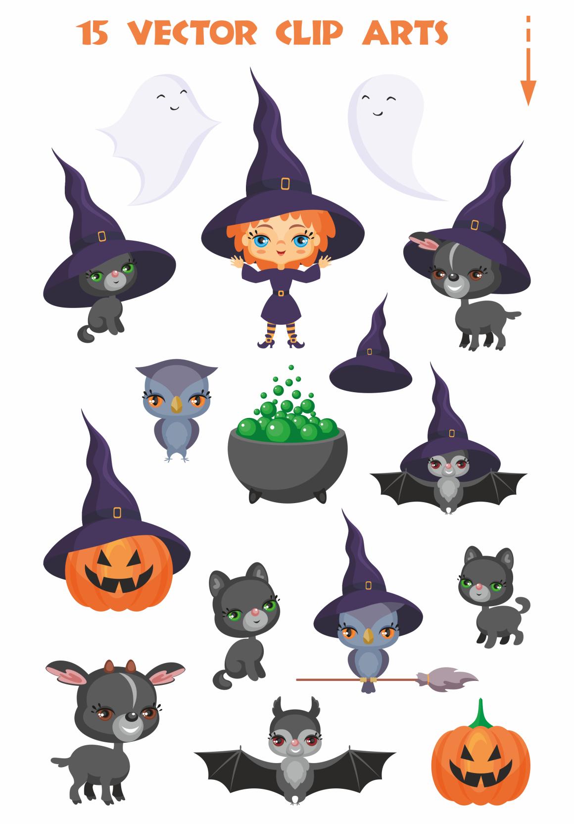 Halloween set. Cute vector clip arts.
