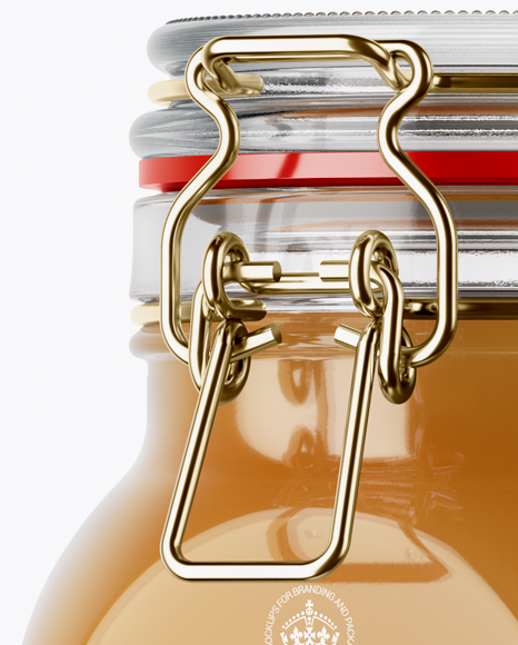 Download 100ml Glass Pure Honey Jar Clamp Lid Mockup Halfside View PSD - Free PSD Mockup Templates