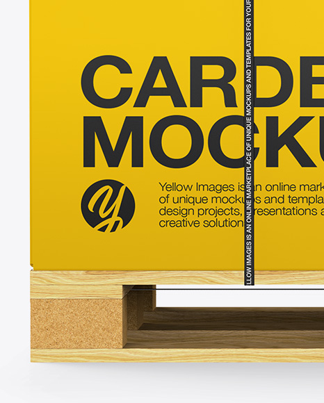 Wooden Pallet With Strapped Carton Box Mockup - Side View