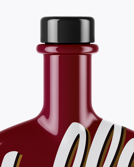 Glossy Bottle With Wooden Cap Mockup
