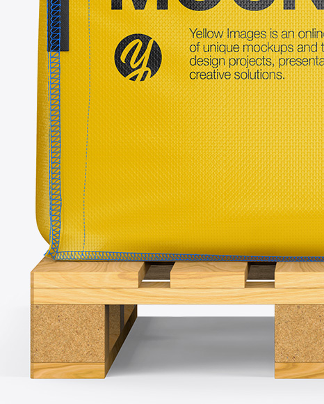 Wooden Pallet With FIBC Big Bag Mockup - Front View