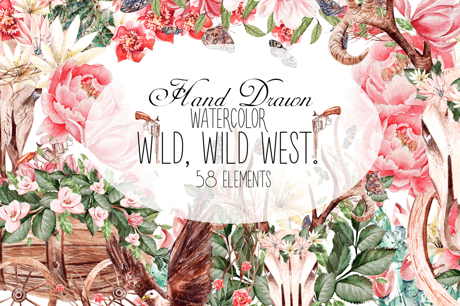 Hand Drawn Watercolor WILD, WILD WEST!