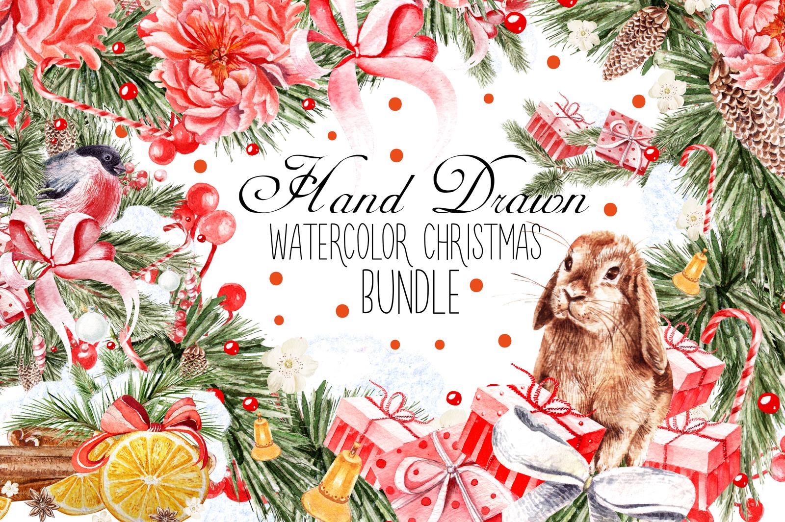 Hand Dawn Watercolor Christmas BUNDLE