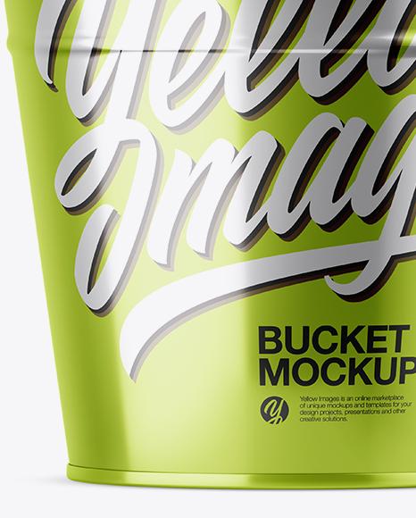 Metallic Bucket Mockup - Front View