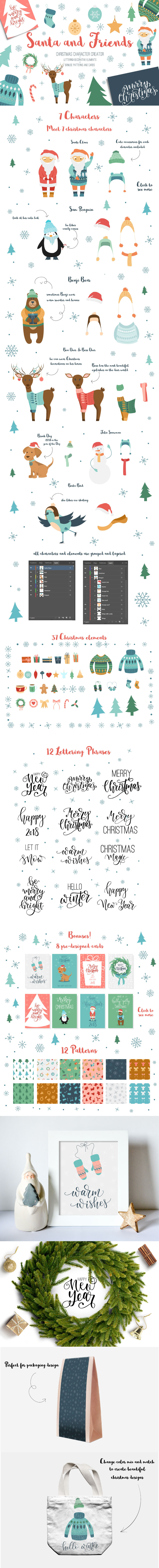 Santa and Friends. Christmas set