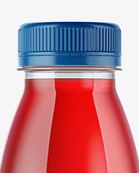 Clear Bottle with Raspberry Juice Mockup