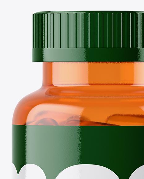 Orange Fish Oil Bottle Mockup
