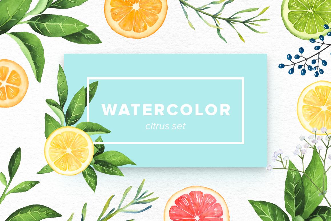 Watercolor Citrus Set