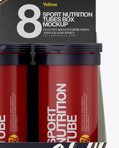 8 Matte Sport Nutrition Tubes Display Box Mockup In Box Mockups On