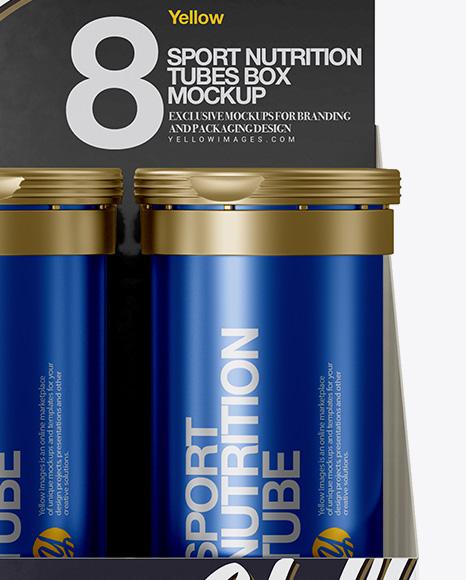 8 Metallic Sport Nutrition Tubes Display Box Mockup