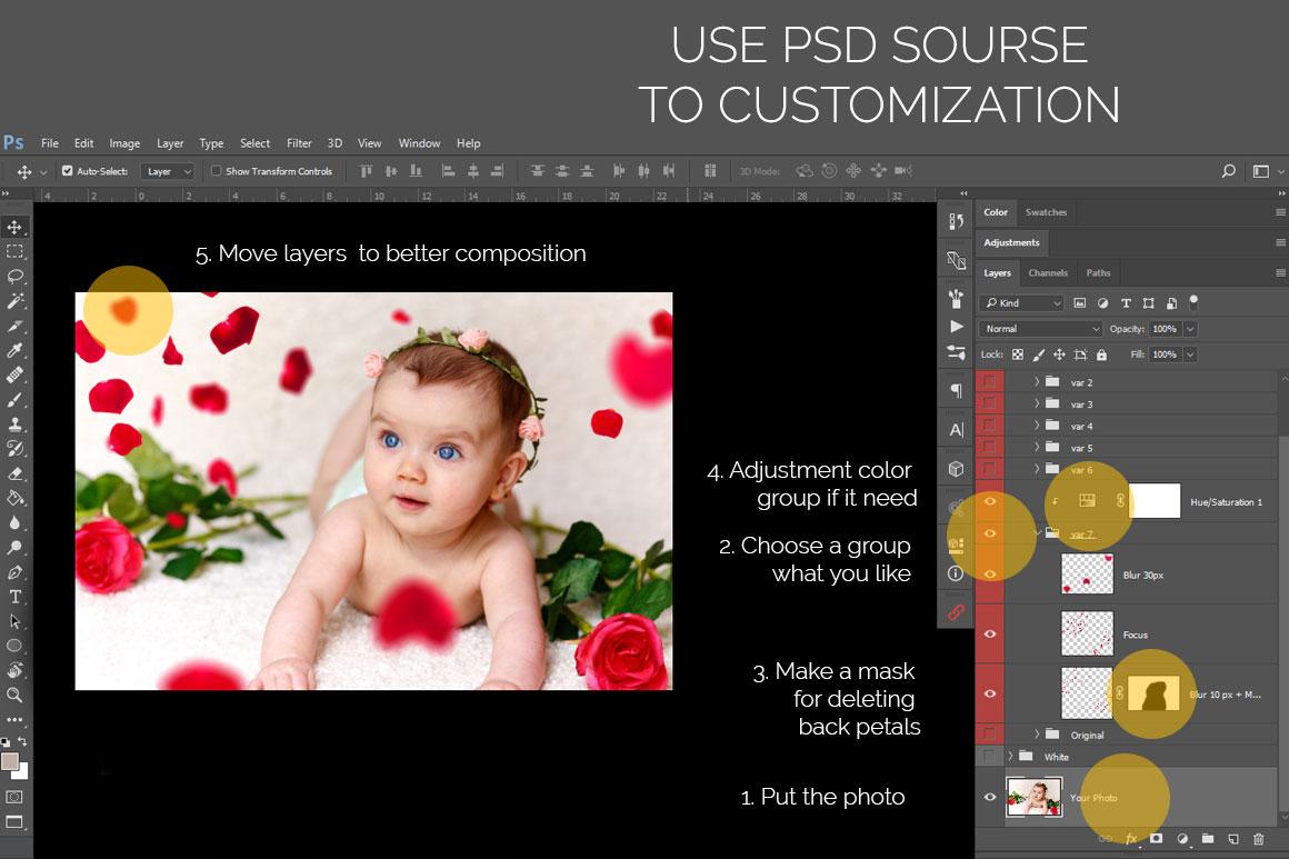 21 Rose Petal Photoshop Overlays, Rose petal, Red rose