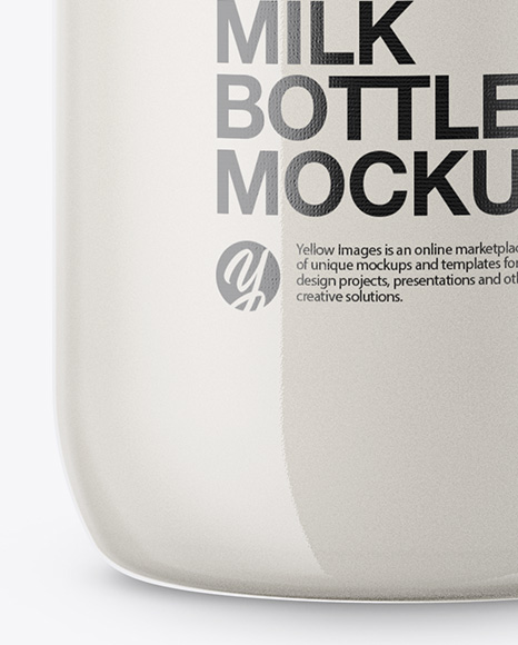 Clear Bottle with Milk Mockup