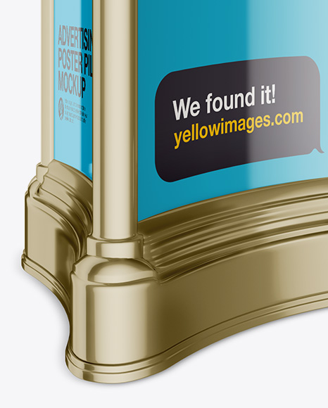 Advertising Poster Pillar with Glossy Poster Mockup - Half Side View