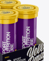 8 Glossy Sport Nutrition Tubes Display Box Mockup - Half Side View