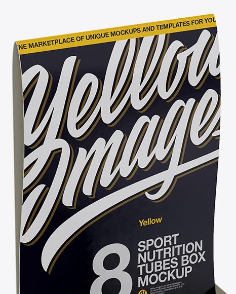 8 Metallic Sport Nutrition Tubes Display Box Mockup - Half Side View
