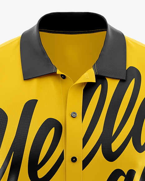 Download Mens Polo Mockup Front View Yellow Images