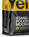 Stand Up Glossy Pouch with Sticker Mockup - Half Side View