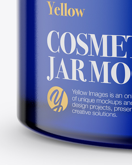 Download Dark Blue Glass Cosmetic Jar Mockup PSD - Free PSD Mockup Templates