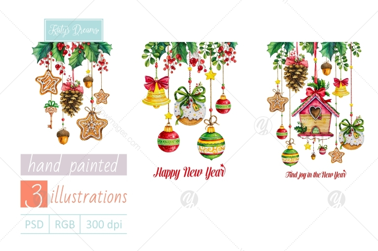 Watercolor set / Happy New Year