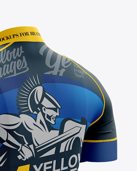 Download Mens Full Zip Cycling Jersey Mockup Half Side View Yellowimages