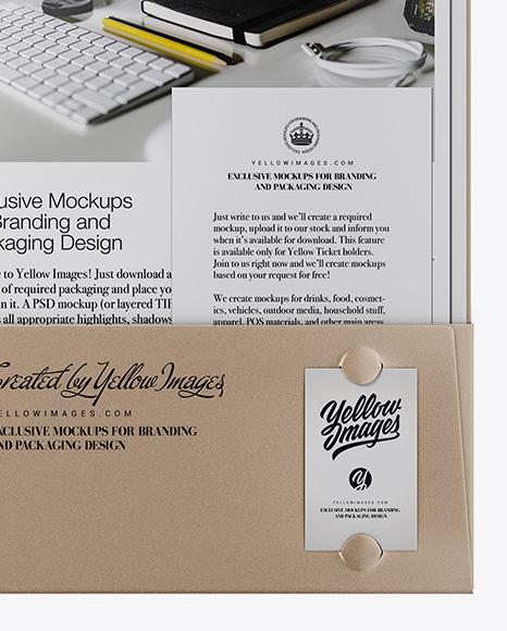 Kraft Folder W/ Kraft Papers and String Closure Mockup