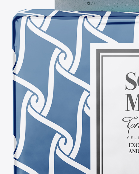 Glossy Pack With Blue Soap Mockup