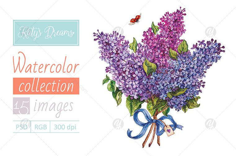 Watercolor set / Lilac