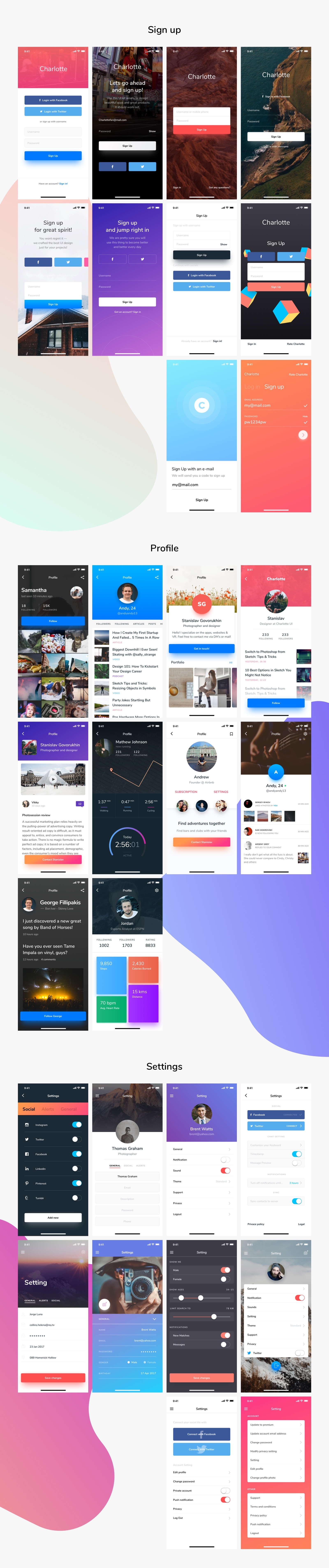 Charlotte iOS UI Kit in UX & UI Kits on Yellow Images Creative Store