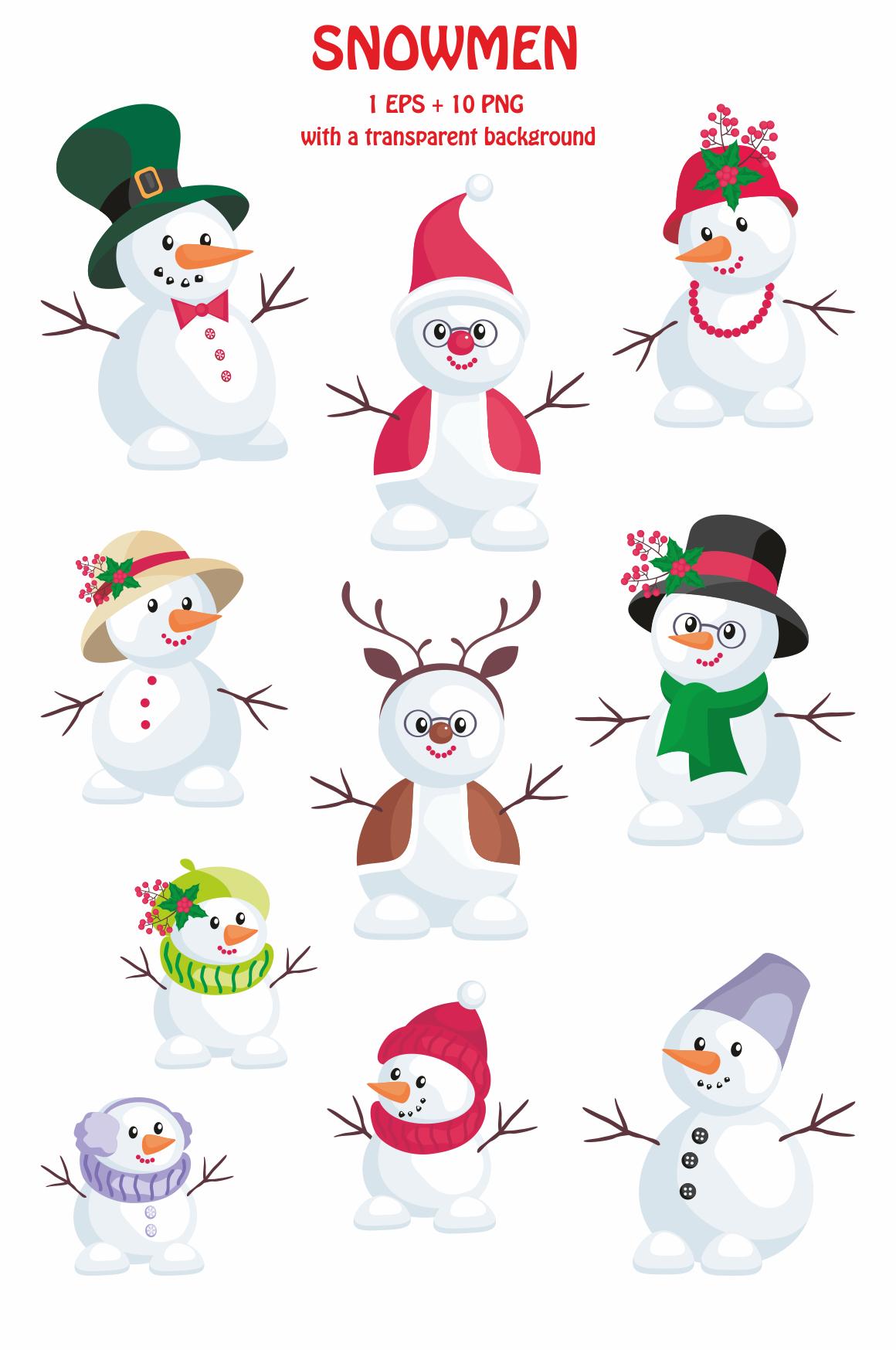 Snowmen. Christmas clip arts.