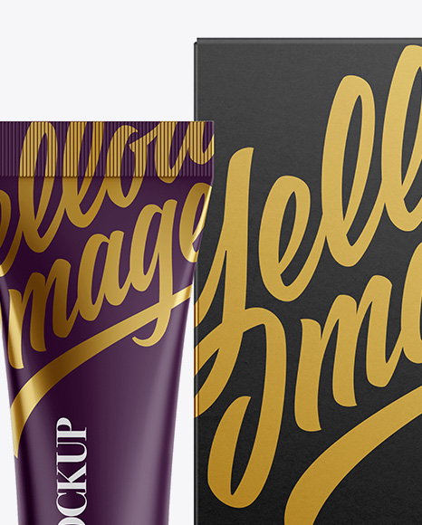 Matte Plastic Cosmetic Tube With A Box Mockup
