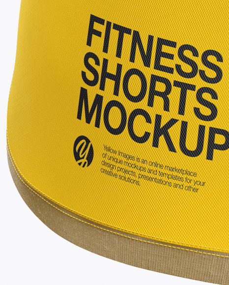 Download Fitness Shorts Mockup Back View Yellow Images