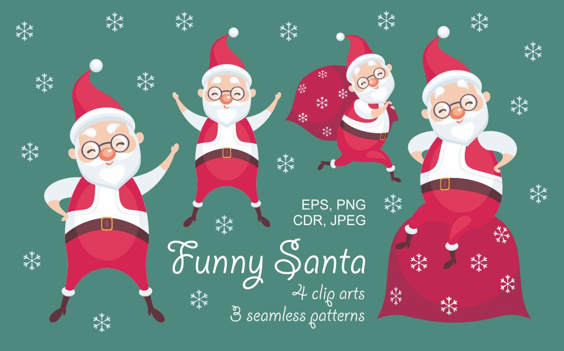 Funny Santa. Christmas clip arts and seamless patterns.