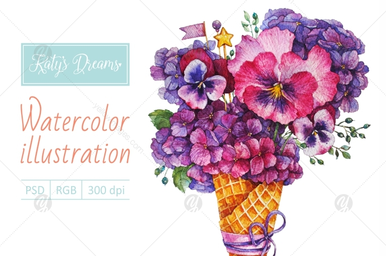 Watercolor Hydrangea and Pansies