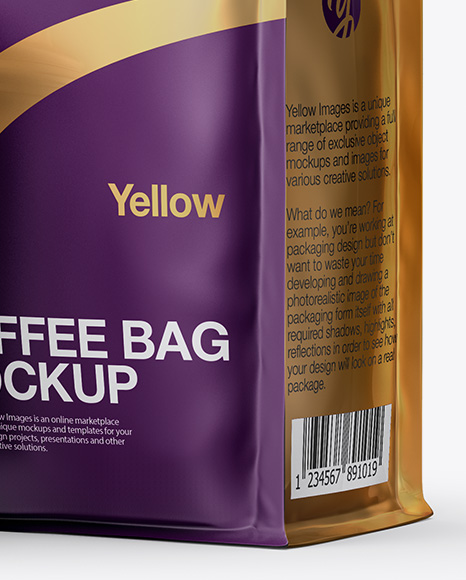 Download Glossy Bag With Kraft Coffee Cup Mockup Half Side View PSD - Free PSD Mockup Templates