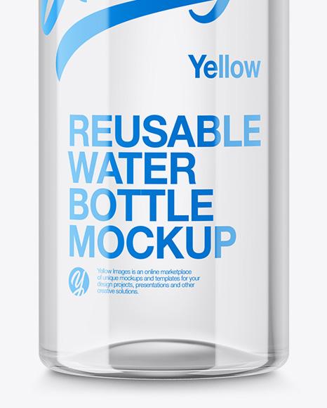 Clear Plastic Reusable Water Bottle Mockup