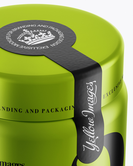 250ml Metallic Plastic Jar With Seal Sticker Mockup (High
