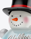 Glossy Christmas Snowman Toy Mockup - Half Side View