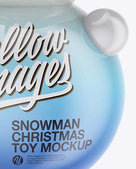 Glossy Christmas Snowman Toy Mockup - Half Side View