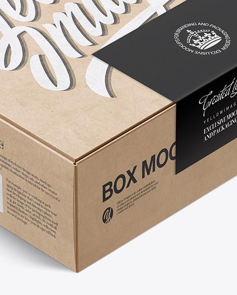 Download Kraft Box Label Mockup Half Side View PSD - Free PSD Mockup Templates