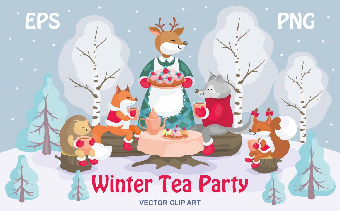Winter tea party. Vector clip art.