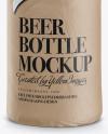 Amber Beer Bottle Wrapped in Matte Paper Mockup