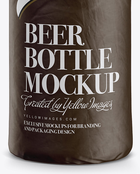 Clear Beer Bottle Wrapped in Matte Paper Mockup