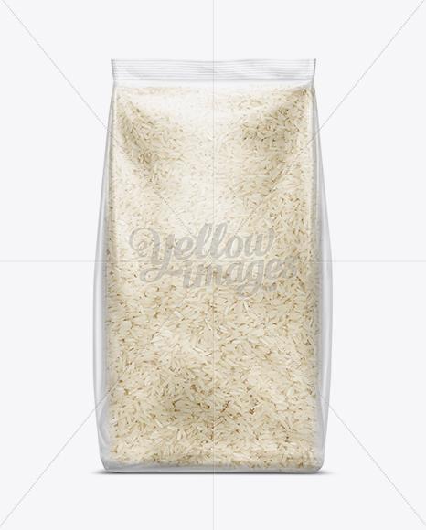 Bag W Basmati Rice Mockup In Flow Pack Mockups On Yellow