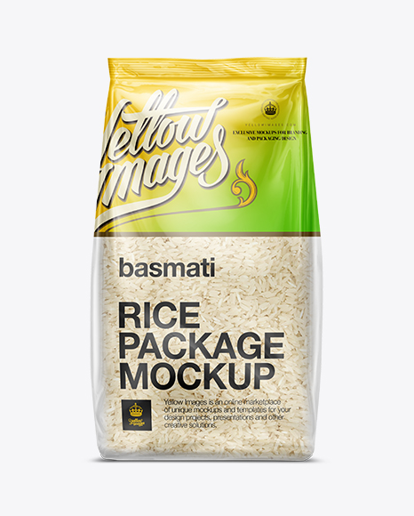 Download Bag W Basmati Rice Mockup In Flow Pack Mockups On Yellow Images Object Mockups PSD Mockup Templates