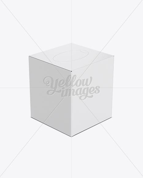 Tissue Box Mockup - Top 3/4 View (High-Angle Shot)