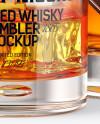 Clear Glass Whiskey Bottle & Tumbler Mockup