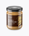 Clear Glass Jar with Peanut Butter Mockup (High-Angle Shot)