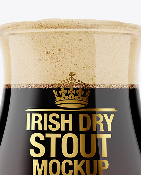 Tulip Glass With Irish Dry Stout Beer Mockup